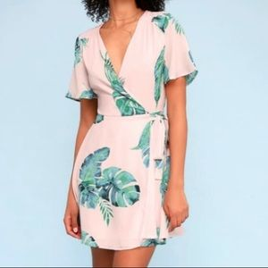 NWT Lulu's Tropical Banana Leaf Palm Wrap Dress